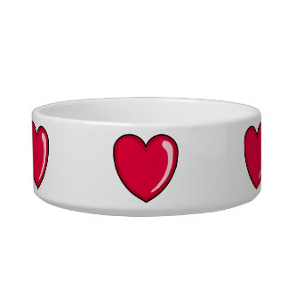 Red Heart Cat Bowl