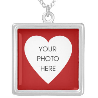 Red Heart Photo Frame Square Pendant Necklace