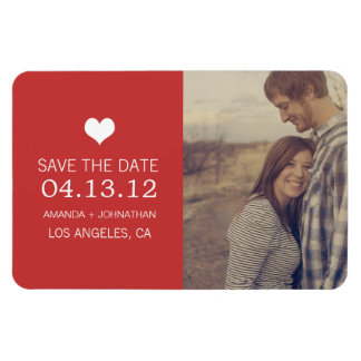 Red Heart Photo Save The Date Magnet