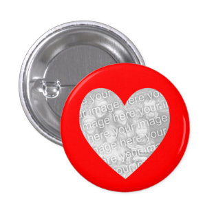 Red Heart Photo Template Pinback Button