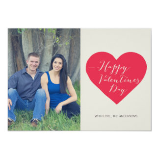"""Red Heart Photo Valentines Day Flat Card 5"""" X 7"""" Invitation Card"""