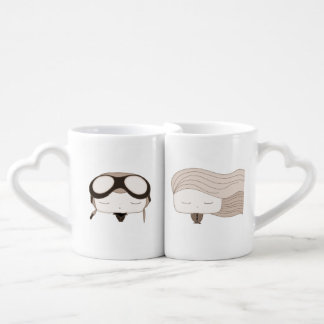 red heart pilot boy cute girl coffee mug set