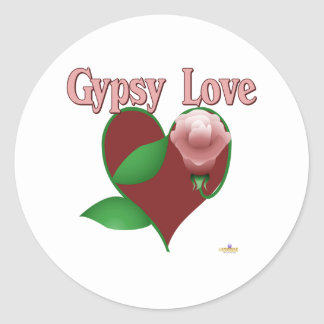 Red Heart Pink Rose Gypsy Love Classic Round Sticker