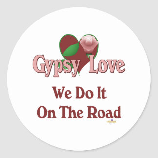 Red Heart Pink Rose Gypsy Love We Do It On The Roa Classic Round Sticker