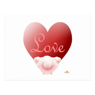 Red Heart Pink Roses Love Post Cards