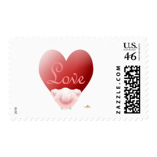 Red Heart Pink Roses Love Postage Stamps