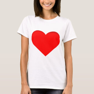 Red Heart Print Design T-Shirt