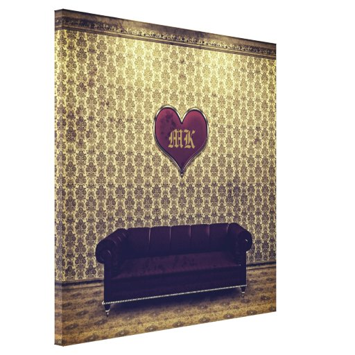 Red Heart Purple Sofa Gold Vintage Victorian Room Canvas