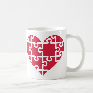 Red heart puzzle classic white coffee mug