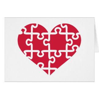 Red heart puzzle greeting cards
