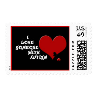 Red Heart Puzzle Piece Postage Stamps