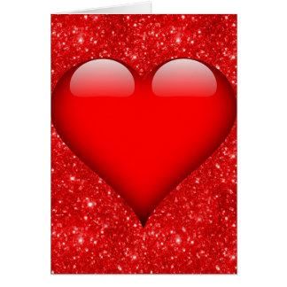 Red Heart, Red Glitter Valentine Card