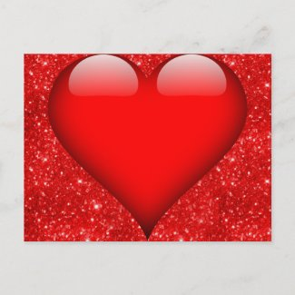 Red Heart, Red Glitter Valentine Holiday Postcard