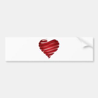 Red heart ribbon bumper sticker