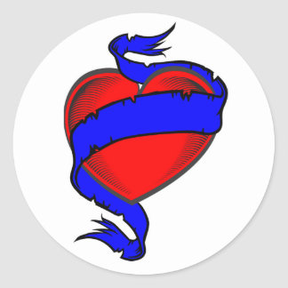 red heart ribbon classic round sticker