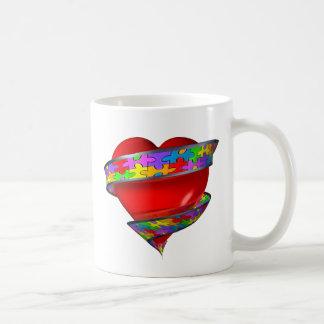 Red Heart Ribbon Coffee Mug