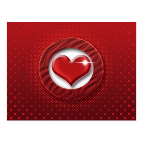 Red heart romantic postcards