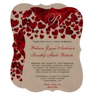 Red Heart Roses Wedding Invitation