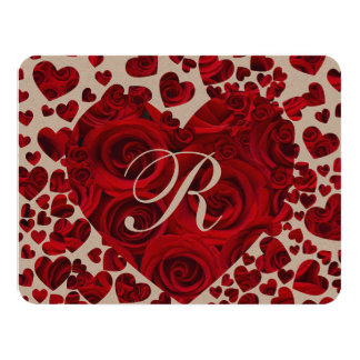 """Red Heart Roses Wedding Save the Date 4.25"""" X 5.5"""" Invitation Card"""