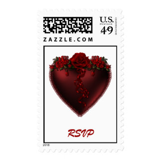 Red Heart RSVP with Roses Postage