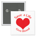 Red heart save a life give blood donation button