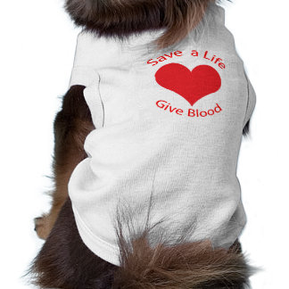 Red heart save a life give blood donation dog tee