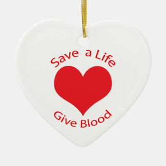Red heart save a life give blood donation ornament