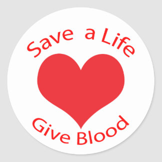 Red heart save a life give blood donation stickers