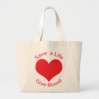 Red heart save a life give blood donation tote bag