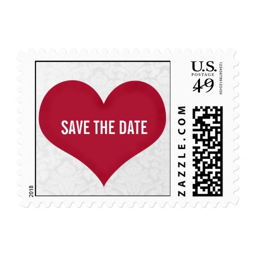 Red Heart Save the date Stamps