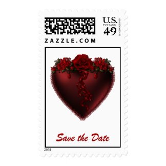 Red Heart Save the Date with Roses Postage