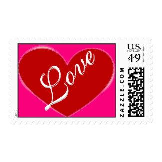 Red Heart Script Rose Love Wedding Postage