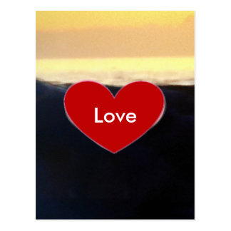 Red Heart & Sea Wave Love Script Postcard