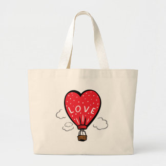 Red Heart Shape Love Balloon Large Tote Bag