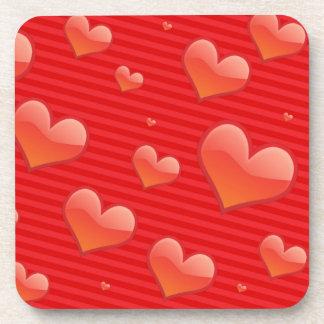 Red Heart Shape Pattern Coaster