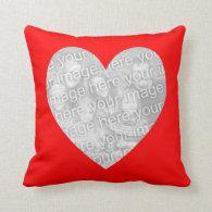 Red Heart Shape Photo Pillow