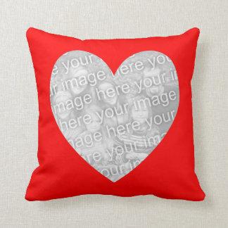 Red Heart Shape Photo Throw Pillow