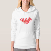 Red Heart Shaped Horse Pattern Hoodie
