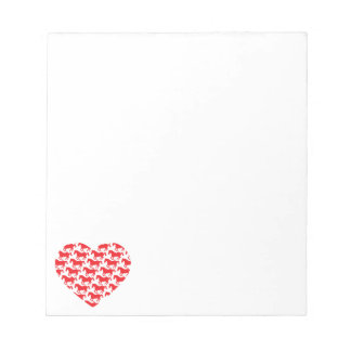 Red Heart Shaped Horse Pattern Memo Note Pad