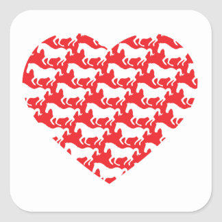 Red Heart Shaped Horse Pattern Square Sticker