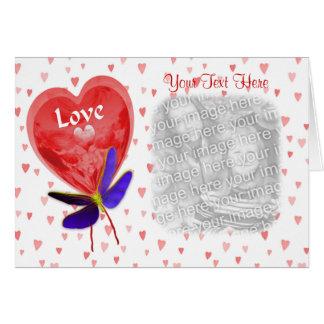 Red Heart Shaped Love Balloon Photo Card
