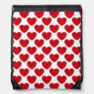Red Heart Shapes Filled with Roses Drawstring Backpack