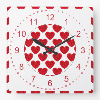 Red Heart Shapes Filled with Roses Square Wall Clock