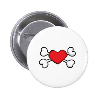 red heart Skull and Crossbones Button