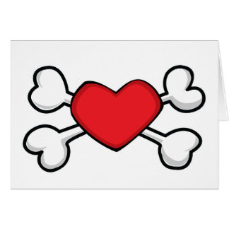 red heart Skull and Crossbones Greeting Cards