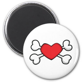 red heart Skull and Crossbones Magnet