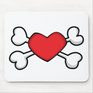red heart Skull and Crossbones Mouse Mats