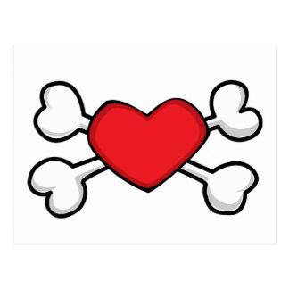 red heart Skull and Crossbones Post Card
