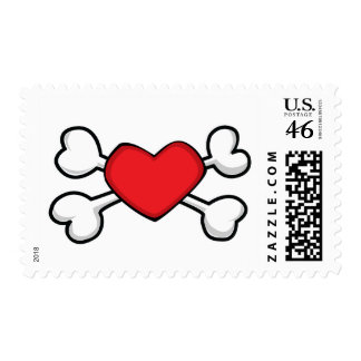 red heart Skull and Crossbones Postage Stamps