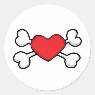 red heart Skull and Crossbones Sticker